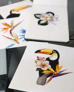 "19.2k Likes, 94 Comments - Sasha Unisex (@sashaunisex) on Instagram: ""Toco Toucan #sashaunisex #watercolor #plumeria #paradisebird #toucan"""