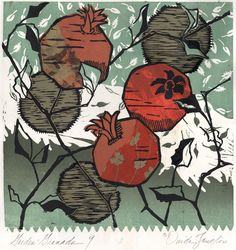 Ouida Touchon- wood cut & patterned papers. Really like the use of fancy papers with the simple woodcut lines.