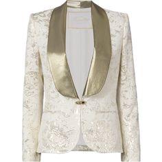 Gold Lurex Cloque Smoking Blazer (21.226.250 IDR) ❤ liked on Polyvore featuring outerwear, jackets, blazers, white, single button blazer, blazer jacket, gold blazer, slim blazer and floral-print blazers