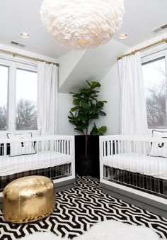 Photography : Hallie Duesenberg Read More on SMP: http://www.stylemepretty.com/living/2016/04/21/pulling-off-a-modern-gender-neutral-nursery-for-twins/