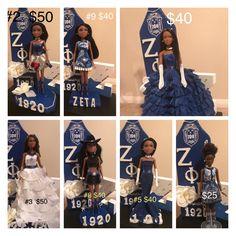 Zeta Phi Beta, Sorority And Fraternity, Greek Life, Feminine, Blue And White, Wedding Ideas, Dolls, Lady, Board
