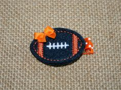 Navy Blue and Orange Felt Football Hair Clip Chicago Bears, Denver Broncos, Aubrun, Clippie Babies Toddlers Girls