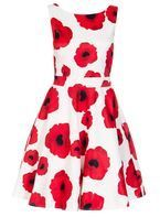 Womens *Quiz Cream Poppy Print Satin Dress- Cream