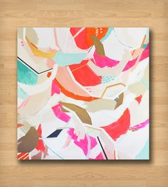 Pink, Blue & White Abstract Art Print