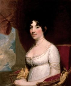 Dolley Madison (1804). Gilbert Stuart (American, 1755–1828). Oil. White House. Dolley Madison, portrayed with her hair arranged in a neoclassical style and wearing a fashionable high-waisted Empire-style dress, was the popular wife of James Madison, then Secretary of State under President Thomas Jefferson. She often served as hostess at the White House for the widowed President.