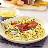 Spaghetti carbonara Pasta, 20 Min, Spaghetti, Bacon, Chicken, Meat, Ethnic Recipes, Food, Eten