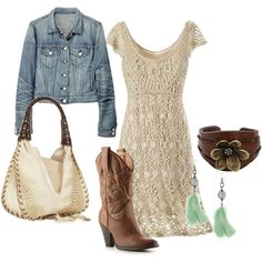 """western sexy, crocheted dress look"" by reneepiatt on Polyvore - everything about this is perfect."