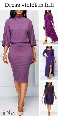 fantastic violet dress, fall purple dress, long sleeve purple dress, classy fall purple dress.  #liligal  #dresses Purple Long Sleeve Dress, Purple Dress, Dress Long, Sexy Dresses, Casual Dresses, Casual Wear, Formal Dresses, Girl Fashion, Fashion Outfits