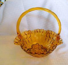 Fenton amber glass basket thumbprint ruffled by TreasuresFromTexas, $35.00