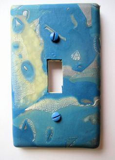 Light Switch Cover, Single Switch Plate, Toggle Switchplate, Blue with Ivory and Silver by marcympc on Etsy
