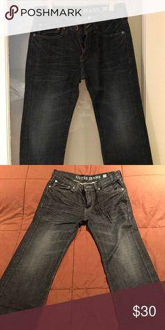 c7f2e557f16 Shop Men s Guess Blue size 29 Slim Straight at a discounted price at  Poshmark. Description  Guess Jeans 29 x 32 Lincoln Slim Straight Leg Dark  Blue.