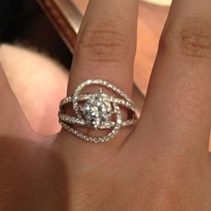 gorgeous setting for a round diamond. a square or princess would also look gorgeous set on its side.