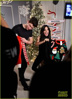 Shawn Mendes & Camila Cabello Are Christmas Cuties At Jingle Ball LA 2015: Photo #902120. Shawn Mendes and Camila Cabello shows off their ugly Christmas sweaters backstage at 102.7 KIIS FM's 2015 Jingle Ball concert held at Staples Center on Friday (December…