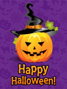 Spooky hands happy halloween card is it a trick spooky witch send free witch hat pumpkin happy halloween card to loved ones on birthday greeting cards by davia m4hsunfo