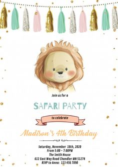 Customize this design with your video, photos and text. Easy to use online tools with thousands of stock photos, clipart and effects. Free downloads, great for printing and sharing online. A6. Tags: gold mint lion theme birthday invitation, lion and sheep quote, lion baby shower, lion birthday invitation, lion birthday zoo invitation, Birthday, Baby Announcement , Birthday Invitation