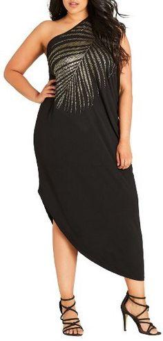 Plus Size One Shoulder Maxi Dress. aff