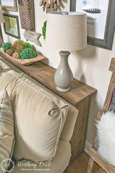 Sofa Table Design, Sofa Table Decor, Diy Table, Table Lamps, Furniture Arrangement, Table Desk, Wood Table, Farmhouse Sofa Table, Rustic Sofa Tables