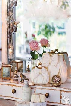 Shabby Chic pink pretties on dressing table