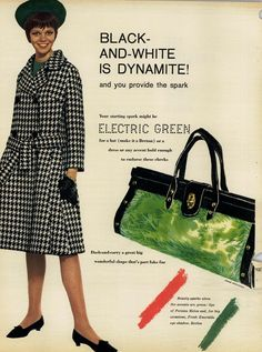 1961. Do you think anybody wore this...with the electric green purse?