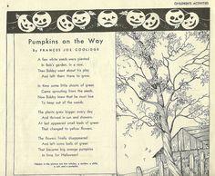 Autumn poem - Pumpkins on the Way Halloween Poems, Halloween Sounds, Retro Halloween, Halloween Cards, Holidays Halloween, Halloween Pumpkins, Halloween Decorations, Halloween Images