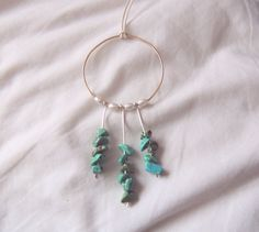 Sweet Dreams || Gold Dreamcatcher Necklace with Turquoise-dyed Howlite Stones