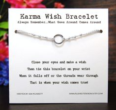 Karma - Small Smooth Circle In Gunmetal Finish - Wish Bracelet - Shown In WINTER - Over 100 Different Colors Are Also Available