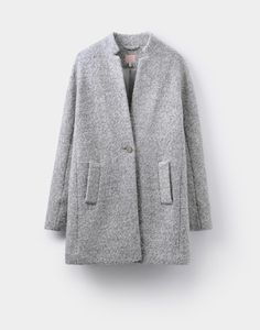 Woolsthorpe Grey Boucle Wool Coat | Joules UK