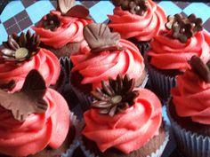 Brown & Coral Bridal Shower Cupcakes by Babycakesokc