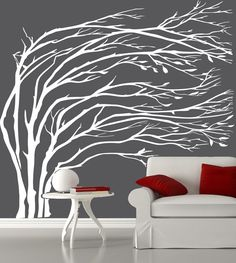 Modern black blowing tree wall decal silhouette by couturedecals, $119.00 .  Would look cool in living room