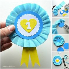 Crafting a rosette for Mother& Day - Crafting a rosette for Mother& Day Moodkids - Grandparents Day Crafts, Fathers Day Crafts, Diy And Crafts, Arts And Crafts, Paper Crafts, Diy Paper, Diy For Kids, Crafts For Kids, Première Communion