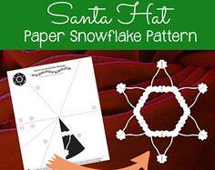 Santa Hat Paper Snowflake Pattern (PDF Digital Download) - Paper Snowflake Printable Template - Christmas Santa Hat Pattern