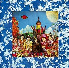 Their Satanic Majesties Request album by rolling stones.The entire cover design is elaborate, with a dense photo collage filling most of the inside cover (along with a maze).designed by Michael Cooper, and a painting by Tony Meeuwissen on the back cover depicting the four elements (Earth, Water, Fire, and Air). They were not able to afford to print the whole picture, so they centered it with a background.