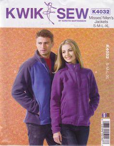 "Kwik Sew Sewing Pattern 4032 Mens Misses Sizes XS-XL (Chest 31 1/2 - 45"") Zipper Fleece Jacket   Kwik+Sew+Sewing+Pattern+4032+Mens+Misses+Sizes+XS-XL+(Chest+31+1/2+-+45"")+Zipper+Fleece+Jacket"