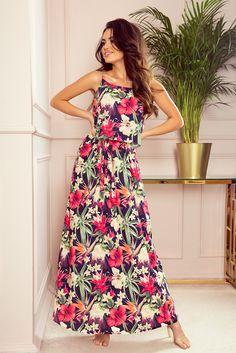 Red Flower Print Numoco Maxi Dress with straps Navy Blue Summer Dress, Red Summer Dresses, Nice Dresses, Mode Shop, Butterfly Dress, Dress Cuts, Floral Maxi Dress, Dress Red, Women's Fashion Dresses