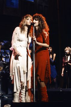 Stevie ~ ☆♥❤♥☆ ~ and Lori Perry-Nicks, and the rest of Stevie's crew were musical guests on 'Saturday Night Live' show on December 10th, 1983 ~ love their matching outfits; Sharon Celani and Marilyn Martin are in the background, as back-up singers