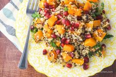 Butternut Squash and Quinoa Salad with Pomegranate