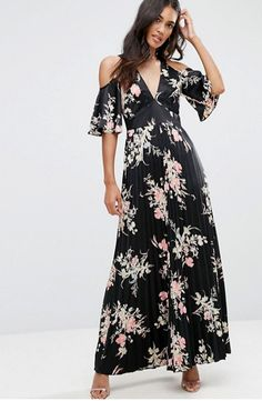 Buy ASOS Cold Shoulder Maxi Dress in Satin Floral Print at ASOS. Get the latest trends with ASOS now. Cute Dresses, Casual Dresses, Fashion Dresses, Summer Dresses, Tall Dresses, Party Dresses, Dress Party, Loose Dresses, Woman Dresses