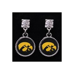 Iowa Hawkeyes Crystal Stud Dangle Earrings (16 AUD) ❤ liked on Polyvore featuring jewelry, earrings, long earrings, dangle earrings and crystal stud earrings