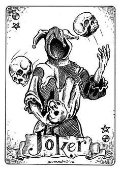 The Joker - Original Ink & Copics markers on Watercolor Illustration Dark Art Drawings, Tattoo Design Drawings, Art Drawings Sketches, Tattoo Sketches, Gothic Drawings, Pencil Art Drawings, Ink Illustrations, Flash Art Tattoos, Body Art Tattoos