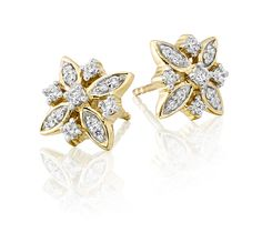 These charming yellow gold cluster diamond studs have 0.33ct brilliant round diamonds set to create an elegant design in a flower formation. These stud earrings are made in 9K yellow gold and come complete with a pair of push-on butterfly backs.