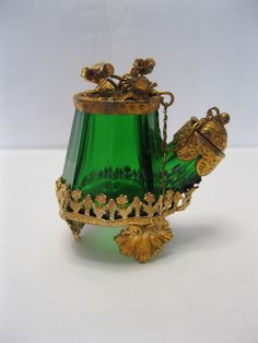 Antique TEAKETTLE  Inkwell -Green Glass