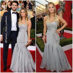 #kaleycuoco #ryansweeting #sag #awards #2014 #gown #dress #husband #wife #grey #suit #tie #handsome #omg #love #bigbang #theory #redcarpet #black #white #awards #win #fashion #style #lookbook... - Celebrity Fashion