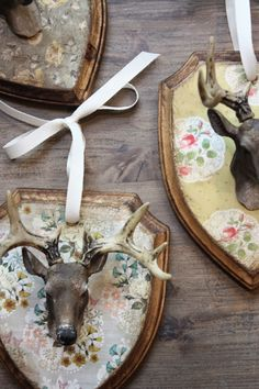 little deer mount ornaments with fun vintage look papered backing