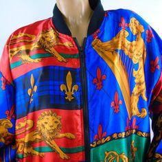 00df0513a4c Satin Bomber Jacket Heraldic Lion Angel Lyre Fleur De Lis Vintage 70s  Venezia Vitale Womens Plus Size 18 20
