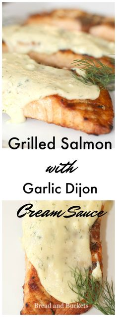 Grilled Salmon with Garlic Dijon Cream Sauce Salmon Dishes, Fish Dishes, Seafood Dishes, Seafood Recipes, Cooking Recipes, Salmon Meals, Best Fish Recipes, Tilapia Fish Recipes, Grilled Salmon Recipes