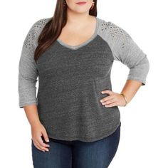 Plus Size French Laundry Women's Plus Embrodiered V-Neck Baseball Hi Lo Tunic, Size: 1XL, Black