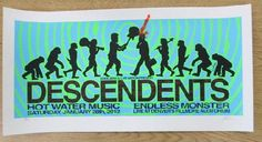 Original silkscreen concert poster for The Descendents at The Fillmore Auditorium in Denver, CO in 2012. 18 x 24 inches. Signed and numbered out of 99 by the artist Lindsey Kuhn.