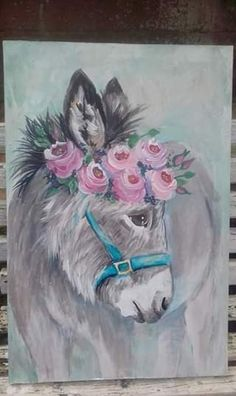 sweet donkey with roses by Wilma Potgieter on FB Canvas Painting Designs, Simple Canvas Paintings, Canvas Art, Farm Paintings, Animal Paintings, Animal Drawings, Donkey Drawing, Decoupage Paper, My New Room