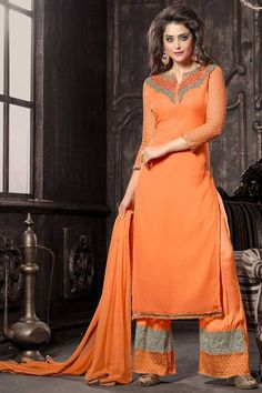 #Coral Orange Faux #Georgette Embroidered Festival #ParallelPant Kameez Sku Code: 51-5579SL511198 $56.00