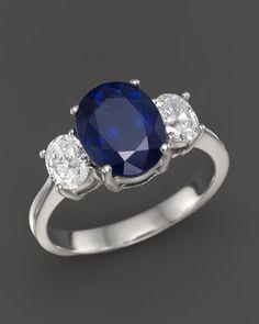 Sapphire and Diamond Three Stone Ring in 14K White Gold